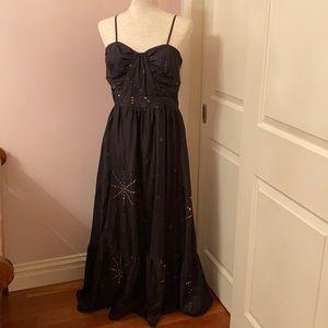 Maxi celestial black dress w/ gold embellishments
